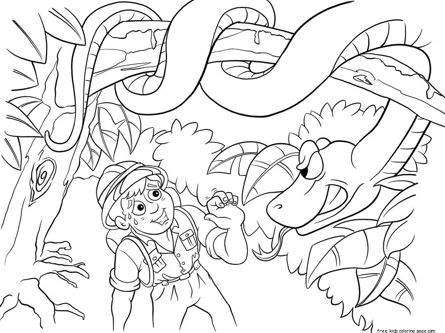 Print out Jungle Snake and boy coloring pages Free