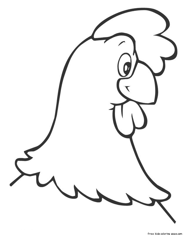 Print out farm hen face coloring book page for kidsFree