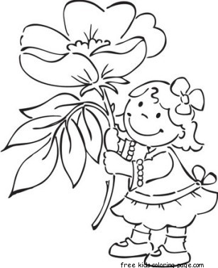 Tags Coloring Pages Fargelegge Tegninger Flowers Girl Kids Windflower Previous Post Printable Jungle Snake And Boy