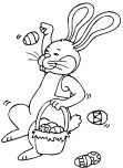 Printable Easter Bunny Throwing Eggs Coloring Page