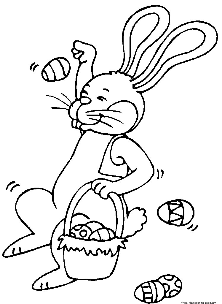 Printable easter bunny throwing