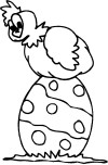 Printable Easter chicken sitting on egg.coloring page