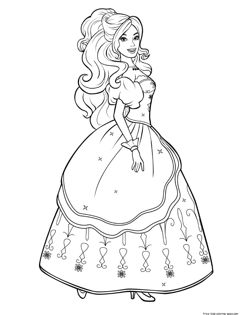 Printable characters beautiful barbie colouring pages for for Barbie coloring pages for kids