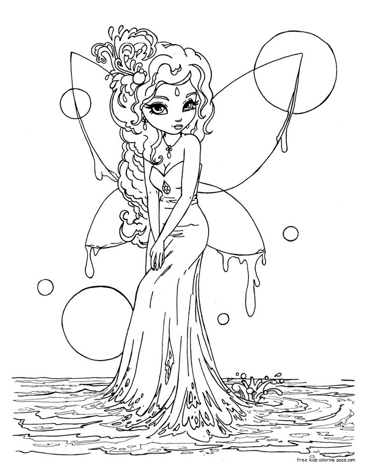 Printable beautiful Fairy on Water coloring in pages for ...