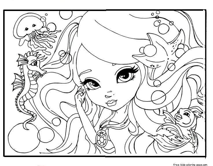 Printable Beautiful Face Barbie Coloring Pages For GirlsFree