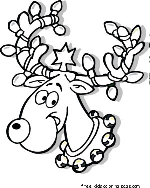 Printable Christmas Reindeer in Lights coloring pagesFree ...