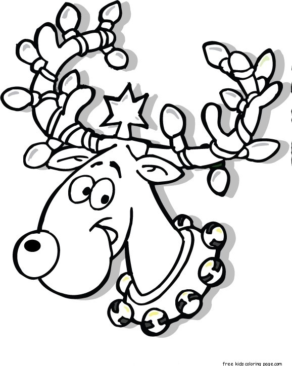 reindeer color page - reindeer coloring faces coloring pages