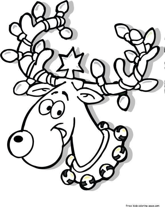 Printable Christmas Reindeer In Lights Coloring Pagesfree