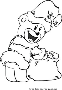 Print out santa bear christmas coloring pages for kidsFree