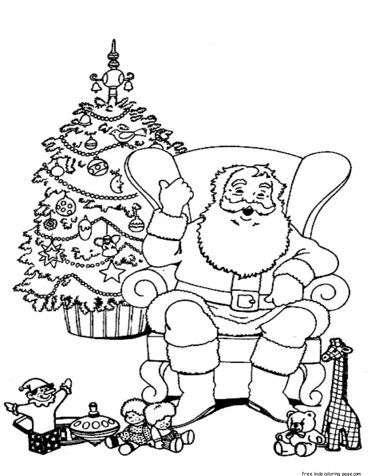 Christmas santa claus relaxing in chair coloring pagesfree - Dessin a imprimer pere noel gratuit ...