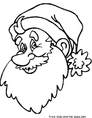 print out big santa face coloring sheet for kidsFree Printable