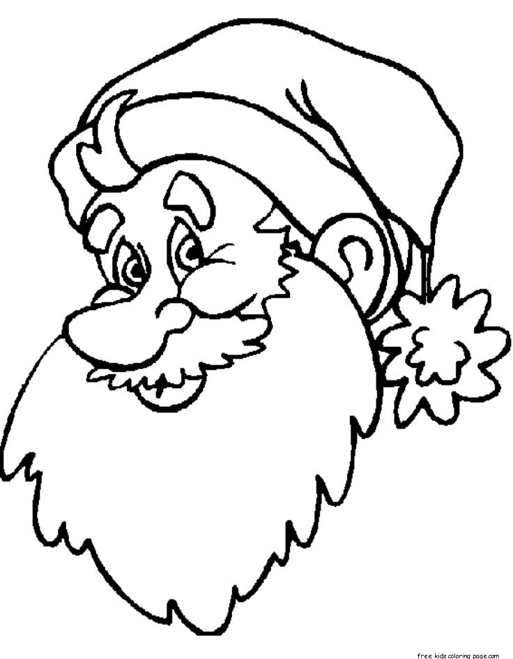 santa face coloring page printables - print out big santa face coloring sheet for kidsfree
