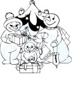 Christmas Snowman Family coloring page
