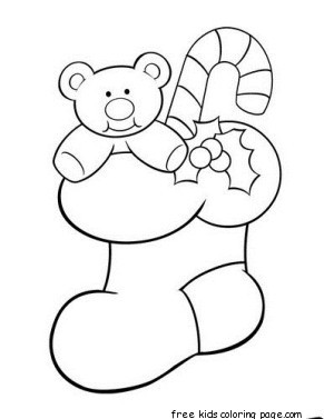 Print Out Teddy Bear Christmas Stocking Holder Coloring PageFree