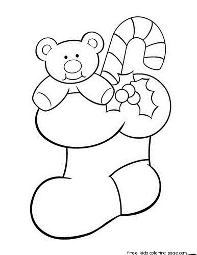 Print out teddy bear christmas stocking holder coloring for Christmas stocking color page