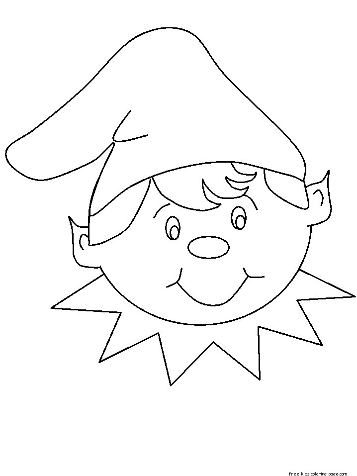 Coloring pages of Christmas Elves happy faces - Free Printable ...