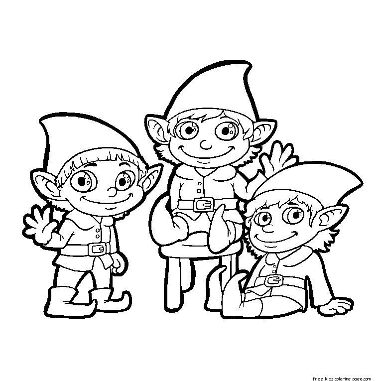 Free printable christmas elf pictures clip art coloring