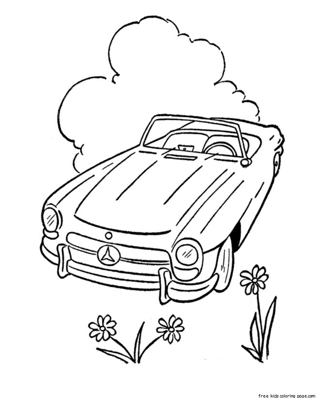 Printable convertible car coloring pages for kidsFree