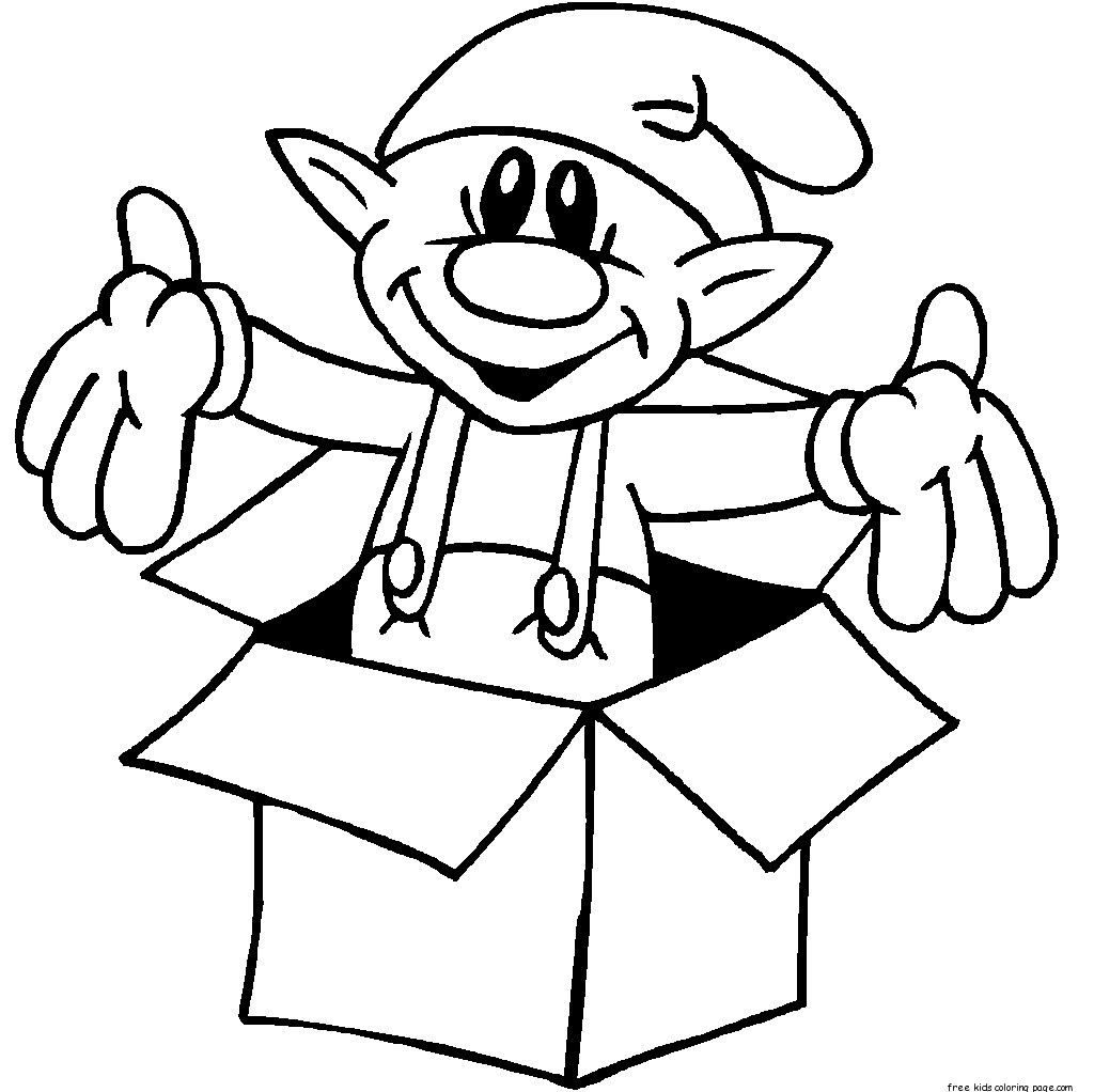 print out christmas elf in a box