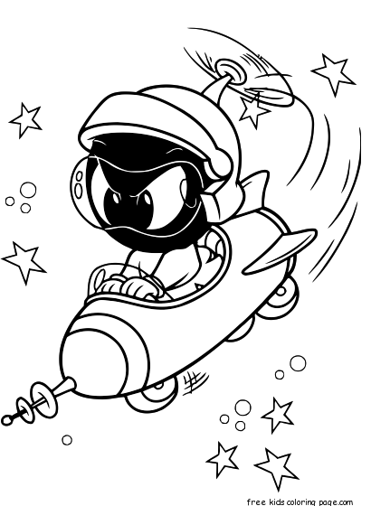 Looney Tunes Baby Marvin In Space Coloring In Sheetsfree
