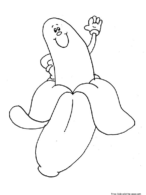 Print out banana coloring pages