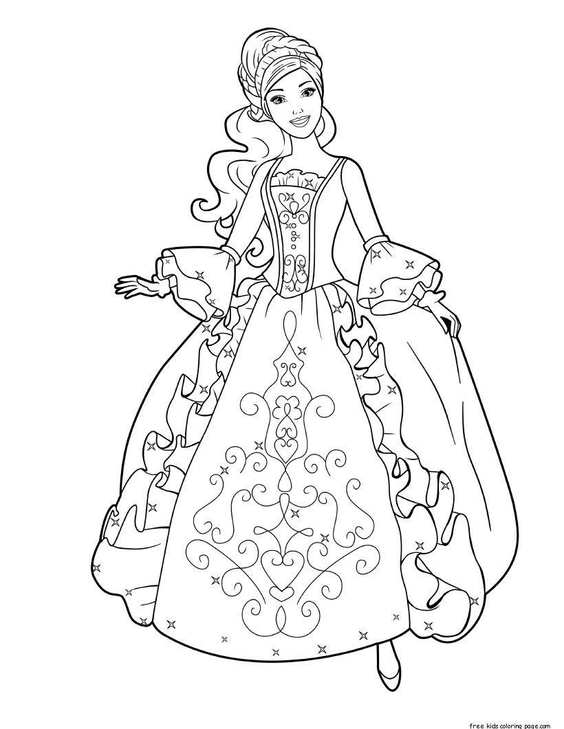 Printable Barbie princess dress book coloring pages Free