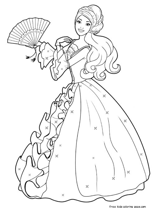 Printable barbie princess dress up games and makeover for Barbie dress up coloring pages