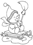 Printable Christmas snowman sledge coloring pages