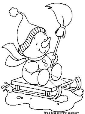 printable christmas snowman sledge coloring pagesfree printable coloring pages for kids