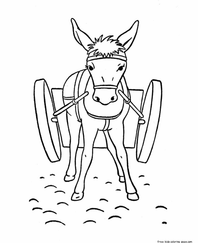 Printable coloring pages donkey for kidsfree printable for Donkey coloring pages free