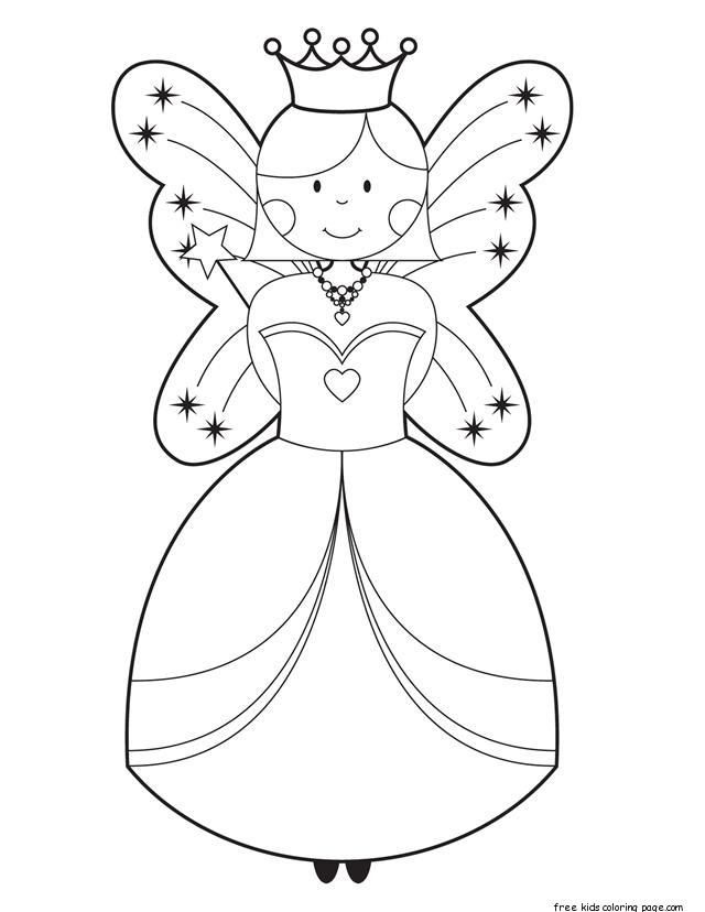 Free Disney Cute Fairy Coloring Pages Printable For GirlsFree