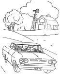 family on tour with car coloring sheet