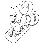 Print out Valentines Day Bee holding a be mine heart