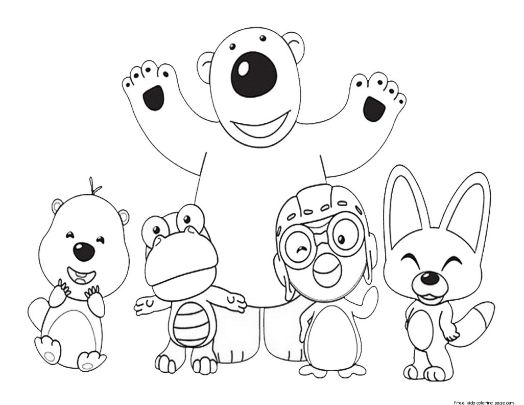 printable disney pororo the little penguin and friends coloring