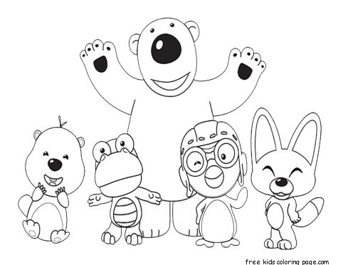 Printable pororo the little penguin and friends coloring for Pororo coloring pages