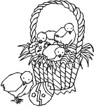 Printable Easter Chicks And Easter Basket Coloring Page