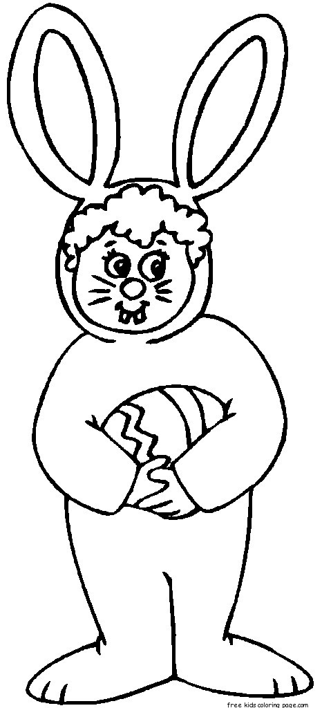 child easter bunny costume coloring