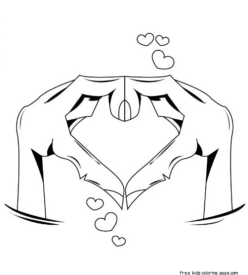 Printable Hands Forming Heart Valentine Day Coloring