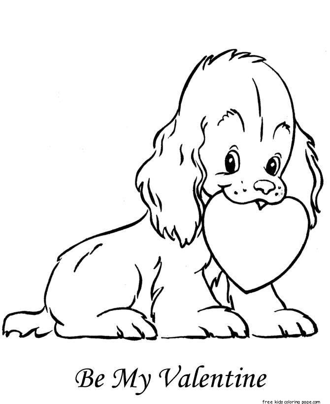 free printable heart coloring pages for kids - print out valentine dog made from hearts colorign pages