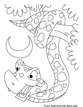 Print Out King Cobra Snake Coloring Pages For KidsFree Printable