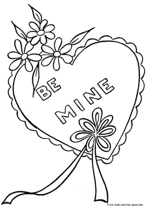 Printable Happy Valentines Day Heart Coloring Pages For KidsFree