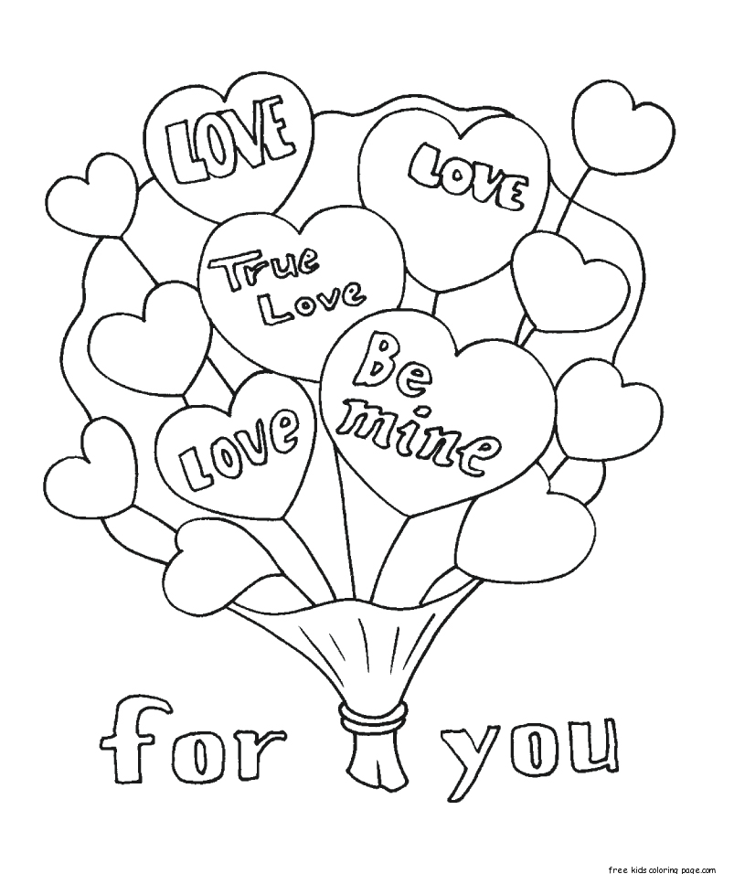 Printable valentines bouquet flowers coloring pages for for Valentines coloring page