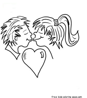 Printabel Valentine Couple Kissing Coloring Pages For