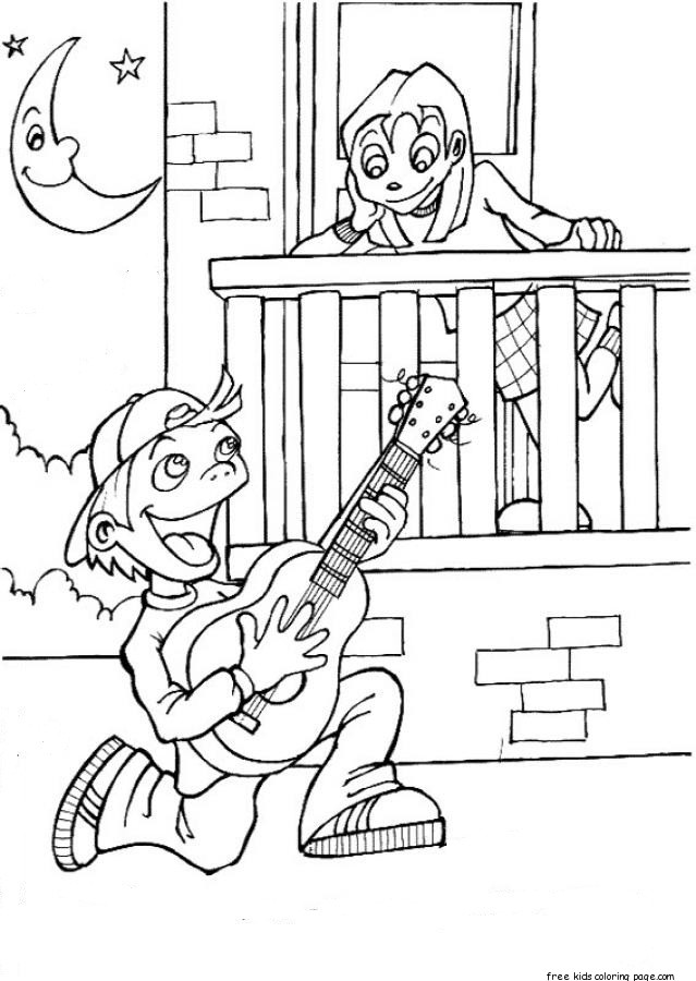 valentine Boy singing a love song coloring page for
