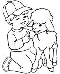 printable lamb and boy coloring page