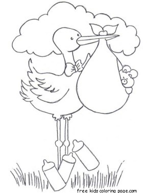 Print Out Baby Diaper Stork Bundle Coloring Pages For Kidsfree