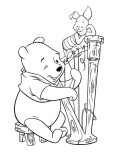 Printabel coloring pages Winnie the Pooh and Piglet play guitar