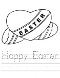 Printable Happy Easter Hearts coloring page