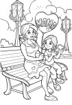 Printable Happy mother and daughter in the park coloring pages