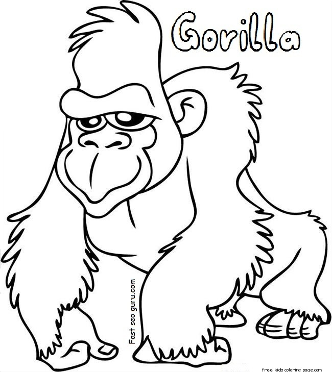 gorilla coloring sheets free printable